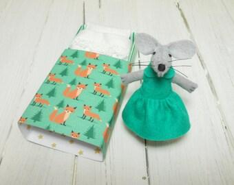 Woodland plush felt mouse in matchbox bed in a box small felt animal felt play set emerald green fox tiny cozy bed pillow sheet mattress