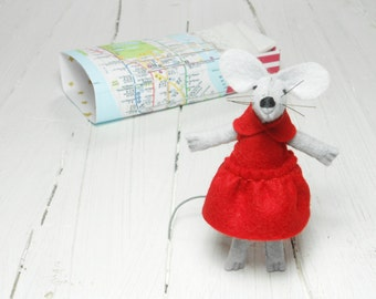 Hand made doll felt mouse with matchbox bed red  stuffed animal handmade animal kids birthday girl gift tiny miniature plushies