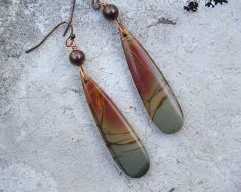 Boho Earrings, Jasper Earrings, Natural Stone Earrings