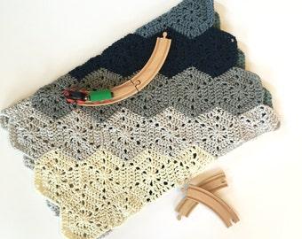 Crochet PATTERN Baby Blanket Boy Hexagons, Modern Crochet Baby Blanket PDF - the Chunky Hexi Baby Blanket