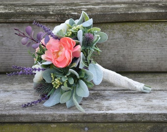Silk Bridesmaid Flower Bouquet Rustic Country Lace Wedding Thistle Lambs Ear Coral and Ivory Ranunculus Lavender Boxwood Eucalyptus Purple