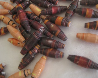 Paper beads, fall colors, jewelry making, garlands, hand rolled, 45 beads