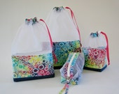 Upcycled Denim and Batik Circles At-A-Glance Knitting/Crochet/Spinning Project Bags Large/Medium/Small & Zippered Accessory