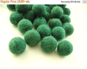 ON SALE 15% OFF Felt Balls Green - 20 Pure Wool Beads - Forest Green Shade -   (W211)