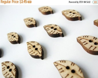 ON SALE On sale!  Small Wooden Leaf Shape Sewing Sew On Buttons Set of 10  (BB117)