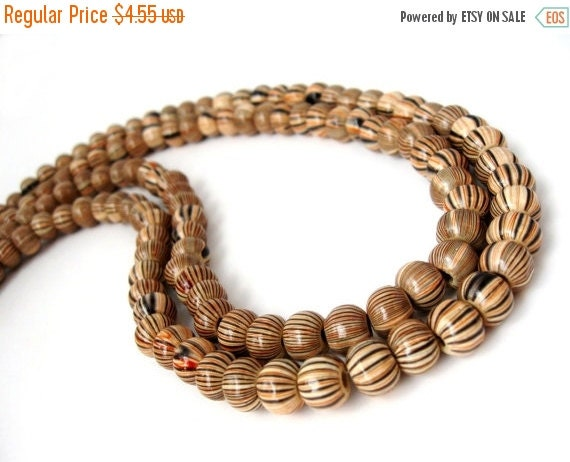 ON SALE Stripped Beads Natural Wood Multicolor 8mm round 20pcs  (PB229)