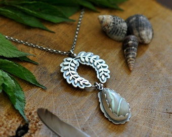 Sterling Turquoise Necklace, Oxidised Sterling Silver Statement Pendant, Gemstone Metalwork Necklace - Growth Necklace in Ribbon