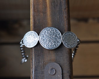 Xx RESERVED xX Sterling Silver Bracelet, Metalwork Bangle, Oxidised Silver Coin Bracelet - Gypsy Treasure Bracelet