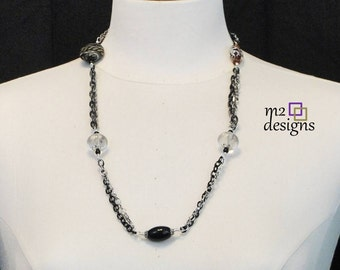 Mixed Bead and Chain Necklace in Black, Silver, Dark Honey, Unique Handmade Gift Ideas for Women, Birthday Gift, Anniversary Gift, Trendy