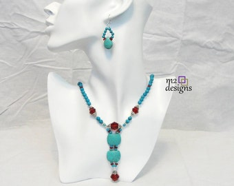 Turquoise and Dark Red Beaded Y Necklace and Drop Earrings Matching Jewelry Set, Unique Handmade Jewelry for Women, Trendy Gift Ideas
