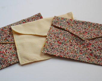 Cloth envelopes made of vintage and yellow fabrics