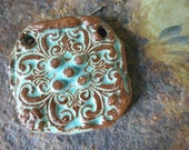 Rustic Turquoise Architectural Scroll Western Jewelry Component Ceramic Clay Pottery