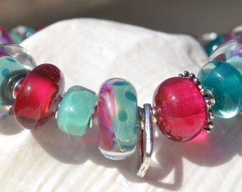 Reserve for Annie-GRACE-Handmade Lampwork and Sterling Silver Bracelet