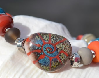 URBAN NATIVE-Handmade Lampwork and Sterling Silver Bracelet