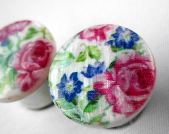 "Pair of Floral Print Mother of Pearl Plugs - Girly Bridal Gauges - 9/16"", 5/8"", 3/4"" (14mm, 16mm, 19mm)"