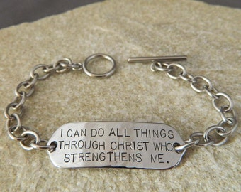 I Can Do All Things Through Christ Who Strengthens Me Handstamped Bracelet