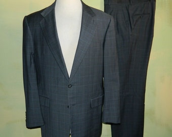 40 / 42 Vintage Hickey Freeman Suit Wool Windowpane Plaid Gray Nordstrom High Quality