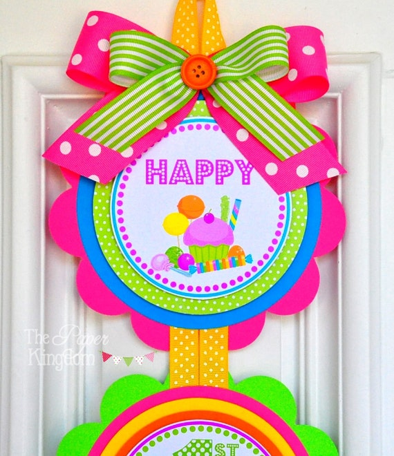 Candyland Vertical Door Hanger, Welcome Door Sign, Candyland Birthday Party, Candyland Party Decorations