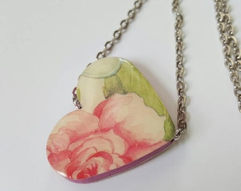 Pink Rose Flat Paper Bead Necklace