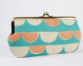 Frame purse with two sections - Bunting in mint and peach - Wowlet / Kisslock wallet / Geometric Modern / green orange / Japanese fabric