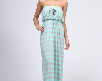 Monogrammed Strapless Stripe Tube Top Maxi Dress