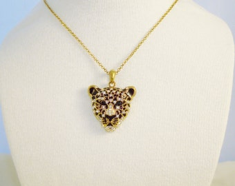 Lovely Gold Tone And Clear Crystals Jaguar Pendant Necklace