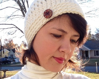 Ready to ship Crochet ivory/offwhite hat beanie.