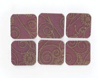 Purple Glittered Mini Note Cards 2x2 (set of 6) MN52