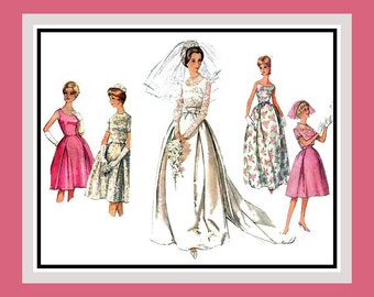 Vintage 1963-Wedding Gown Ensemble-Sewing Pattern-Tulip Skirt-Detachable Train-Bridesmaid-Cocktail Dress-Lace Jacket-Size 12-Rare