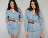 blue jean baby -- vintage 80s denim shirt dress M