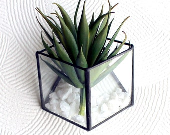 Modern Geometric Glass Terrariums - Stained Glass Decor - Home Decor- 3 Sizes