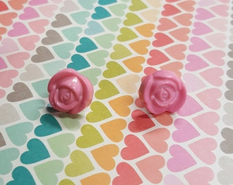 SALE Pink Rose Earrings