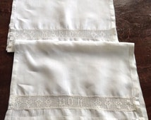 Two Vintage Antique White Linen Towels, Inset Filet Crochet, Marion & Don, hand hemmed