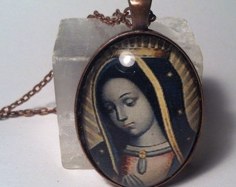 Our Lady of Guadalupe Glass Pendant Necklace