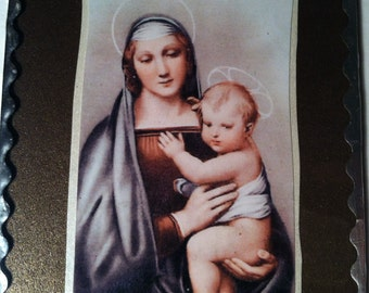 Madonna Plaque Soldered Flat Glass Devotional Decor