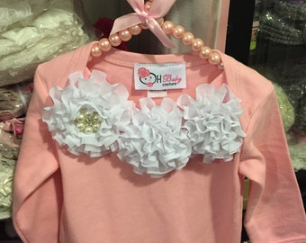 Take me Home Outfit Gown pink with white Chiffon Cabbage Roses Newborn Infant Gown & Headband