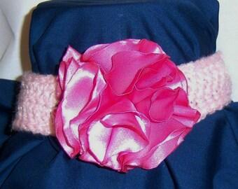Crochet headband with Satin Flower