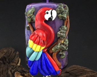 Scarlet Macaw  original custom handmade lampwork parrot bead SRA leteam