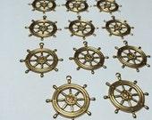 10 pcs ships wheel nautical helm brass stamping charms destash