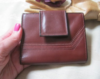 Vintage small Rolf's cowhide oxblood wallet/coin purse, dark maroon leather small wallet/card case/coin purse, small travel wallet