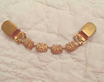Vintage Sweater Clip / sweater guard gold tone metal Butterflies