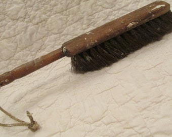 Vintage dust broom with horsehair bristles Primitive