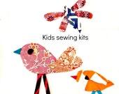 Two Birdies Sewing Kit  Kids Sewing Kit Sew a Pillow Sew a Wall Hanging 10x10 Beginner Sewing Kit Kids Sewing Kit
