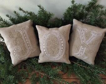 JOY Shelf Pillows/ Christmas Mantle Decor