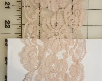 """3-3/4"""" Wide medium pinkish Beige champagne double Scallop Lace BTY"""