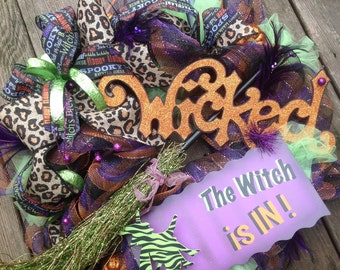 WICKED WITCH IN wreath, witch wreath, stripe deco mesh wreath, burlap ribbon- Halloween wreath