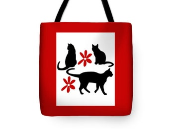 Cat Tote Bag, Double-Sided, Reusable Shopping Bag, Red And White School Bag, Black Kitty Red Flowers, Overnight Bag, Kitten Carry-All