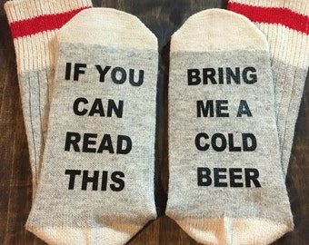 Bring me a beer socks, gift for him, mens stocking stuffer, christmas gift ideas, beer lover gift, craft beer, beer gift, beer lover gift