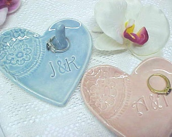 Heart Shape Ceramic Ring Dish / Personalized Initials / Made to Order in About a Week / Pottery Wedding Gift