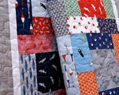 Quilt Baby Toddler Crib Nursery Bedding Fish Line Scrappy Patchwork Blue Red Grey Cot Fish Fishing Sharks Lures Ocean Fish Scales Children